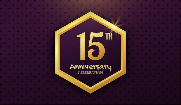 Golden 15th years anniversary celebration background