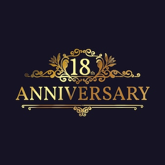 Golden 18th anniversary logo template