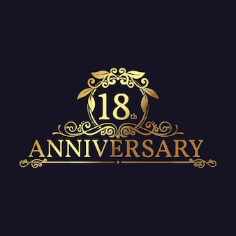 Golden 18th anniversary logo with ornaments