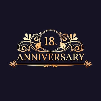 Golden 18th anniversary logo