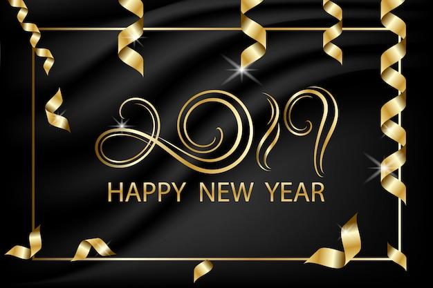 검은 배경, 새해 복 많이 받으세요에 황금 2019 편지