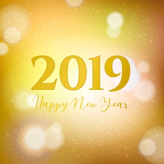 Golden 2019 new year bokeh background