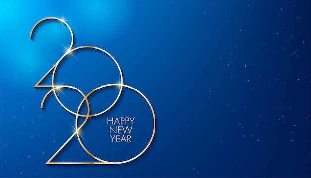 Golden 2020 new year. holiday design for greeting card
