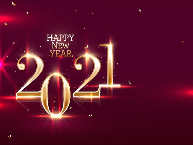 Golden 2021 happy new year text with lights effect and confetti on maroon background