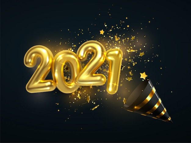 Golden 2021 numbers, party popper cone and glittering confetti isolated on black