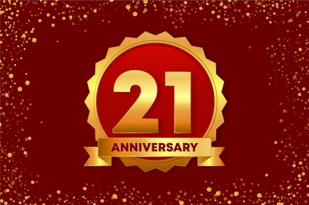 Golden 21 anniversary background Free Vector