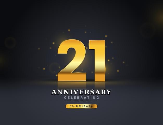 Золотой 21-й годовщины фон