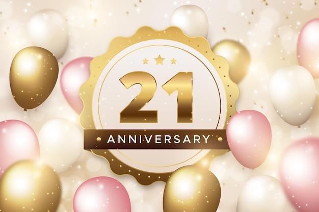 Golden 21 anniversary background Free Vector