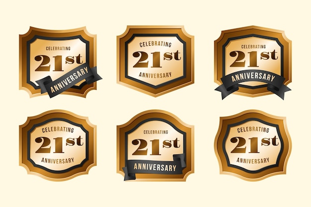 Golden 21 anniversary badge collection