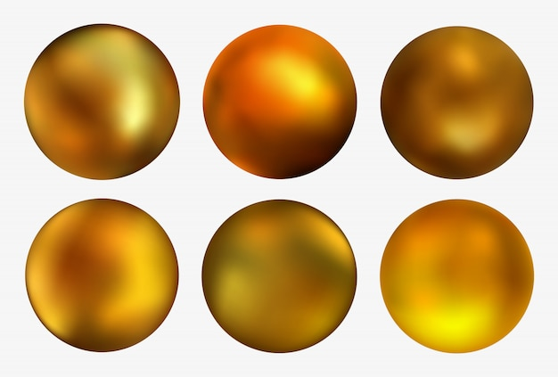 Golden 3d balls set