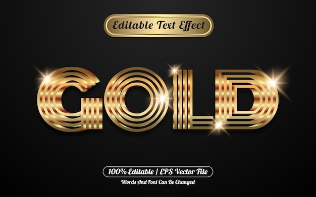 Golden 3d editable text effect style