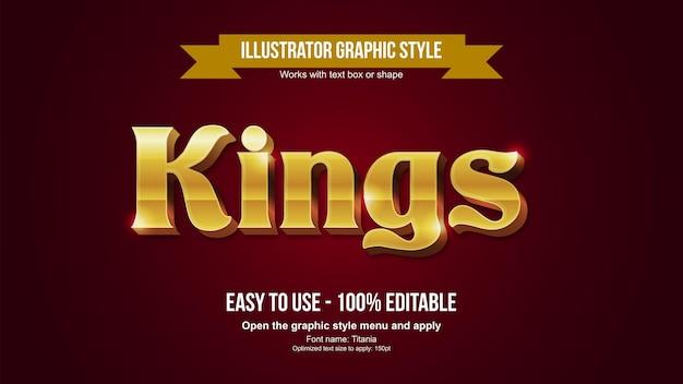 Золотой 3d заголовок металлический элегантный редактируемый текстовый эффект