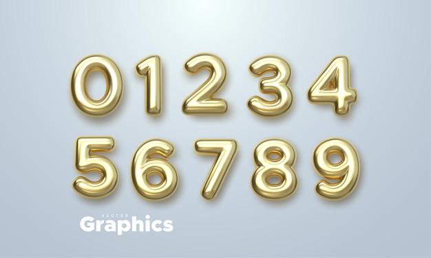 白い背景で隔離の黄金の3d番号セット