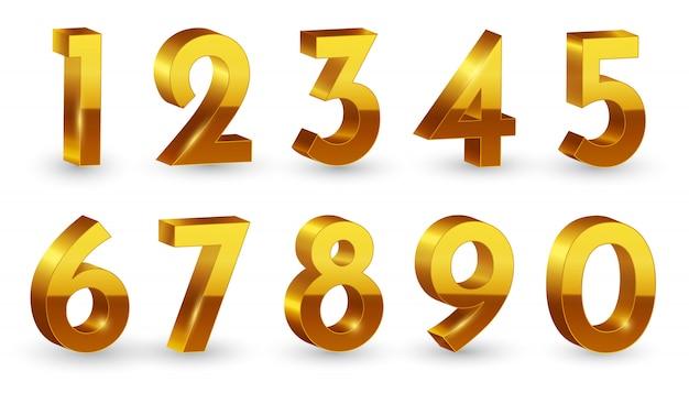 Golden 3d numbers set