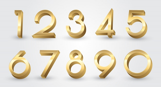 Golden 3d numbers set