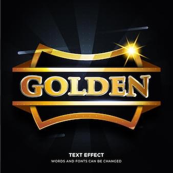 バッジの背景を持つ黄金の3dテキスト効果