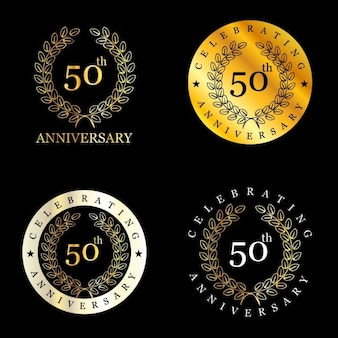 Golden 50 years badges with laurel wreath