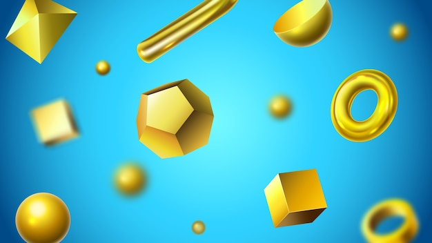 Golden abstract 3d geometric shapes background