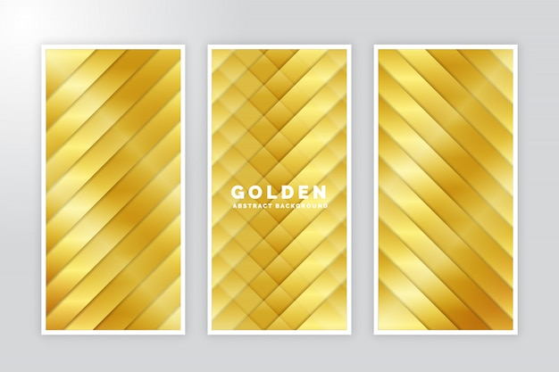 Golden abstract brochure set