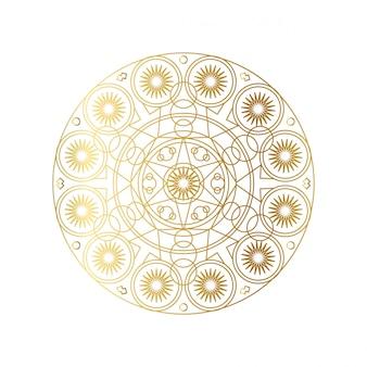 Golden abstract geometric mandala outline illustration
