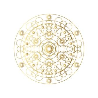 황금 추상적인 기하학적 만다라 개요 벡터 일러스트 레이 션. 환각 패턴 흰색 절연