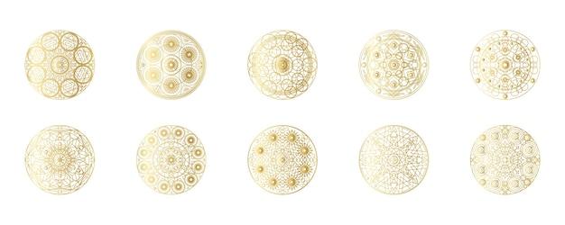 黄金の抽象的な幾何学的な曼荼羅セット