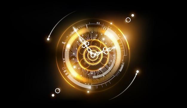 시계 개념과 타임 머신이 있는 황금 추상 기술 배경은 시계 바늘을 회전할 수 있습니다.
