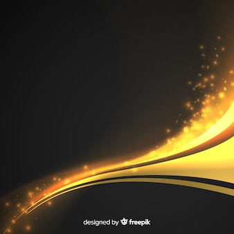 Golden abstract wavy background