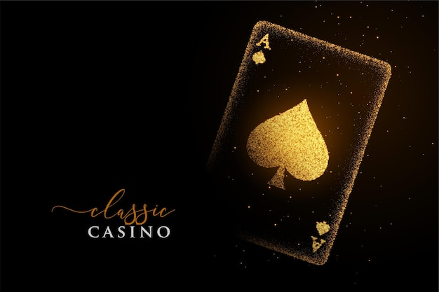 Golden ace of spades made with particles background