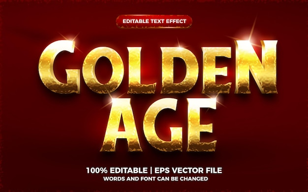 Golden age editable text effect 3d template style