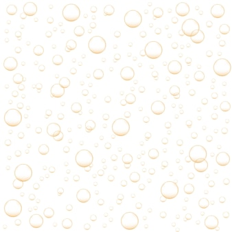Golden air bubbles of champagne, soda, sparkling wine, carbonated drink. abstract background with oxygen fizz. vector realistic illustration.