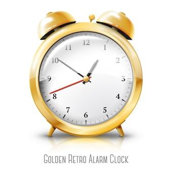 白い背景で隔離の黄金の目覚まし時計