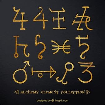 Golden alchemy symbol collection