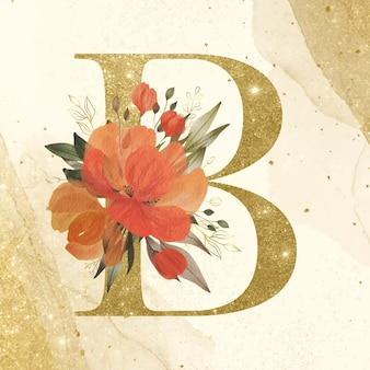 Golden alphabet b with watercolor flower decoration on gold background for branding and wedding logo