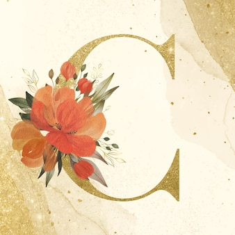 Golden alphabet c with watercolor flower decoration for branding and wedding logo