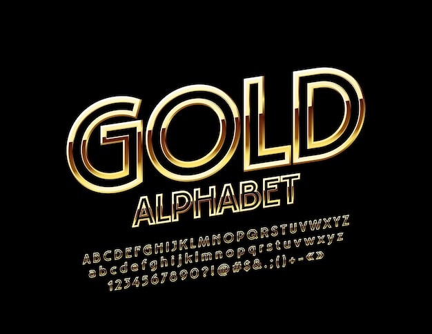 Golden alphabet chic thin font rotated exclusive letters numbers and symbols