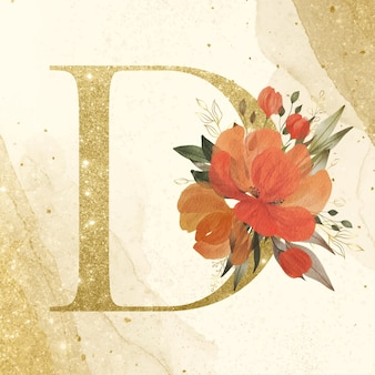 Golden alphabet d with watercolor flower decoration for branding and wedding logo
