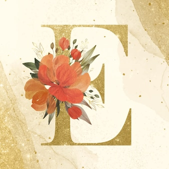 Golden alphabet e with watercolor flower decoration for branding and wedding logo