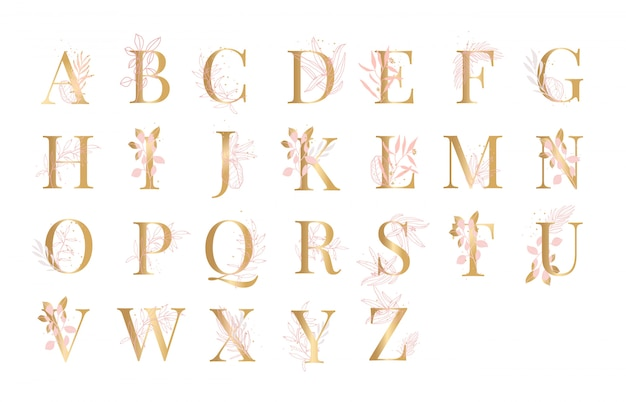 Golden alphabet floral background illustration vector