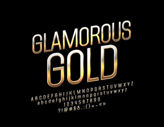 Золотой алфавит гламурный яркий шрифт роскошных букв, цифр и символов