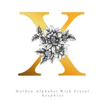 황금 알파벳 문자 x