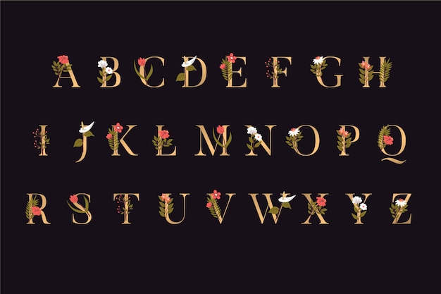 Golden alphabet letters with flowers