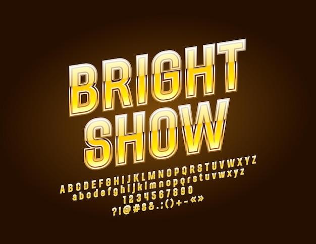 Золотые буквы алфавита со знаком яркое шоу. эксклюзивные буквы алфавита, цифры и символы с вращением