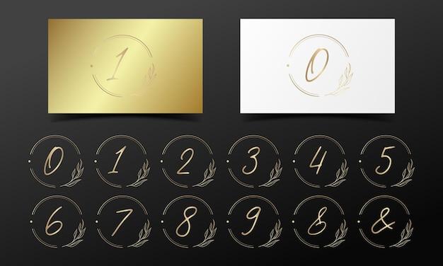 로고 및 브랜딩 디자인을위한 둥근 프레임의 황금 알파벳 번호.