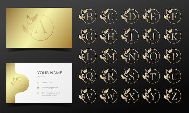 Alfabeto dorato in cornice rotonda per logo e design del marchio.