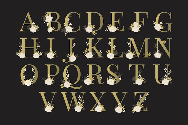 Golden alphabet with cute flowers