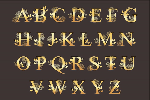 Golden alphabet with elegant beautiful flowers