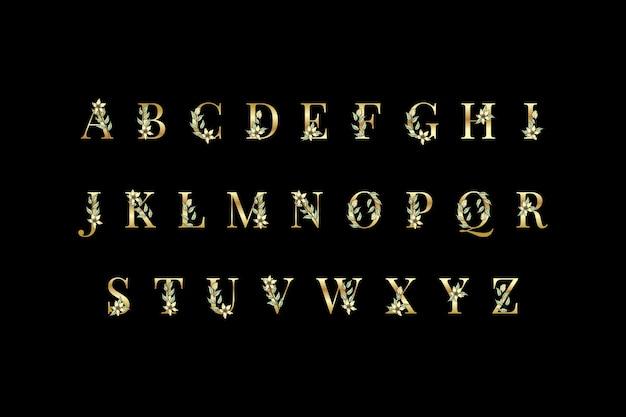 エレガントな花と黄金のアルファベット 無料ベクター
