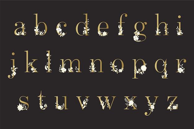 Golden alphabet with elegant flowers
