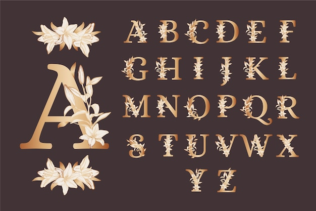 Golden alphabet with elegant flowers